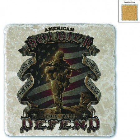USA American Soldier Stone Coaster