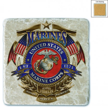 Marines USMC Badge Of Honor Stone Coaster