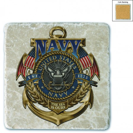 US Navy The Sea Is Ours Stone Coaster