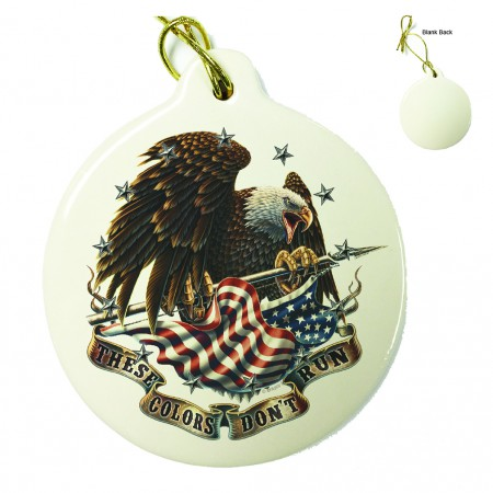 USA Patriotic These Color Don't Run Porcelain Ornament