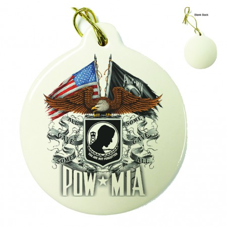 Double Flag Eagle POW Porcelain Ornament