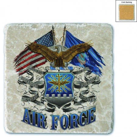 US Double Flag Air Force Eagle Stone Coaster