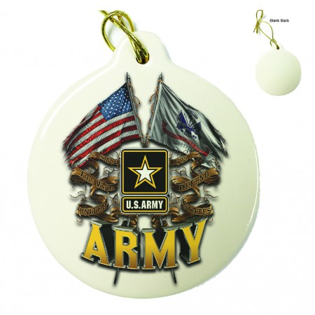 US Army Double Flag Porcelain Ornament
