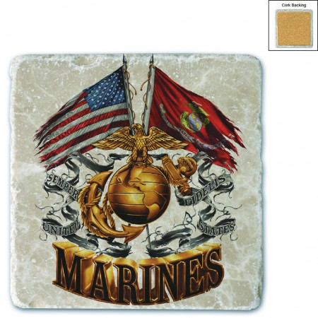US Marines Double Flag Stone Coaster