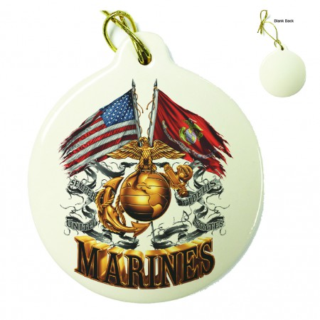 Double Flag US Marine Corps Porcelain Ornament