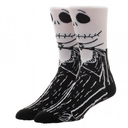 Nightmare Before Christmas Men's Black And White Crew Socks