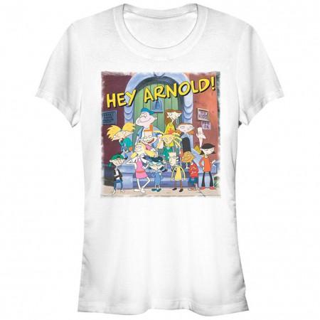 Hey Arnold Group Photo Ladies White Tee Shirt
