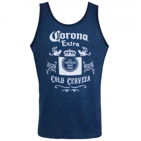 Corona Extra Men's Cold Cerveza Blue Tank Top