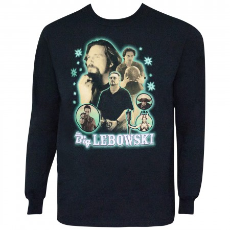 Big Lebowski Men's Long Sleeve Neon Bowling Collage T-Shirt
