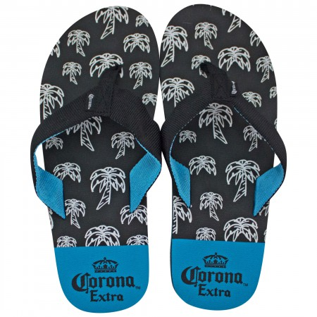 Corona Extra Blue And Black Palm Tree Sandals