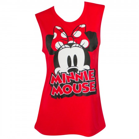Minnie Mouse Women's Fashion Red Bow Tank Top