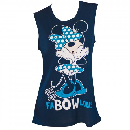 Minnie Mouse Fab-Bow-Lous Women's Blue Fashion Tank Top
