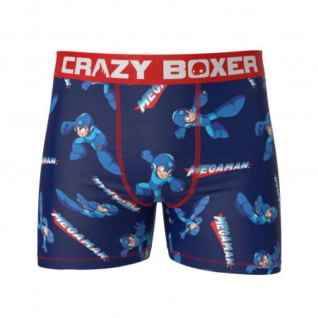 Mega Man All Over Men's Blue Boxers