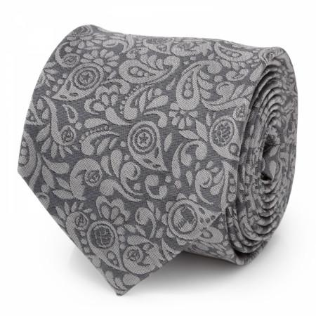 Avengers IconsGray Paisley Men's Silk Tie