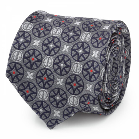 Deadpool Ninja Stars Gray Men's Silk Tie