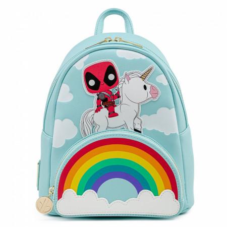 Marvel Deadpool 30th Anniversary Unicorn Rainbow Mini Backpack by Loungefly