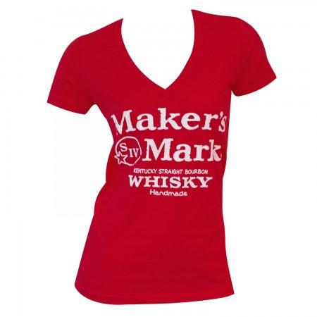 Women's Maker's Mark Red V-Neck T-Shirt