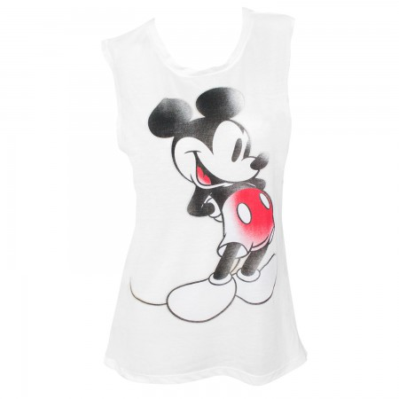 Mickey Mouse Ladies White Vintage Muscle Tank Top