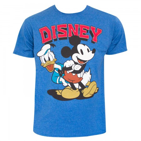 Disney Men's Blue Mickey And Donald T-Shirt