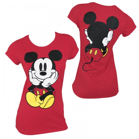 Mickey Mouse Women's Red Front & Back T-Shirt