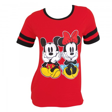 Mickey And Minnie Women's Red Jersey T-Shirt