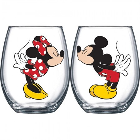 Disney Mickey And Minnie Kissing 14.5 oz Wine Glass Set