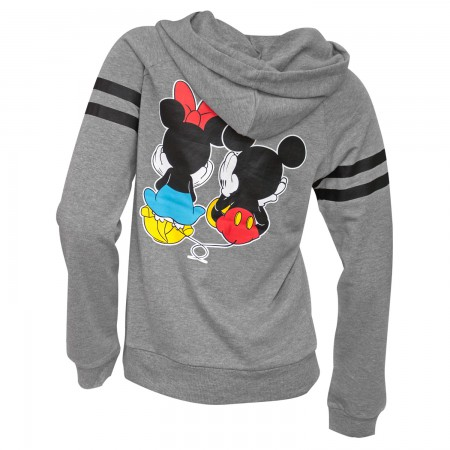 Mickey And Minnie Sitting Women's Grey Hoodie