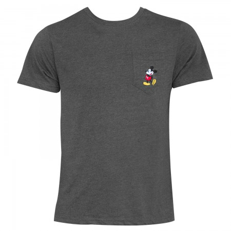 Mickey Mouse Men's Embroidered Grey Pocket T-Shirt