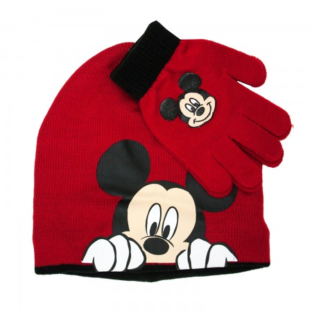 Mickey Mouse Red Glove And Hat Pair