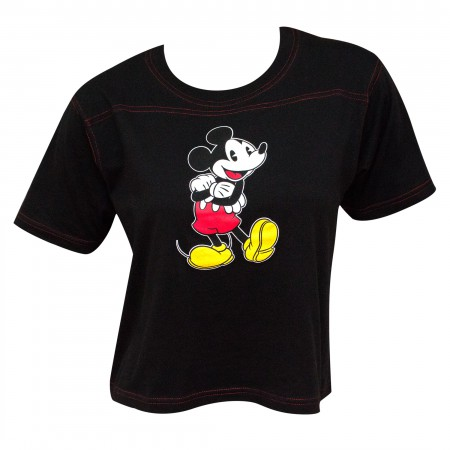Mickey Pose Contrast Stitch Women's Black Cropped T-Shirt