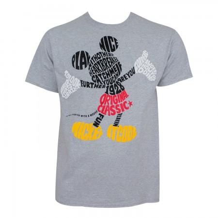 Mickey Mouse Men's Grey Original Classic T-Shirt