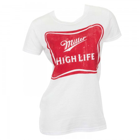 Miller High Life White Women's Beer Logo T-Shirt