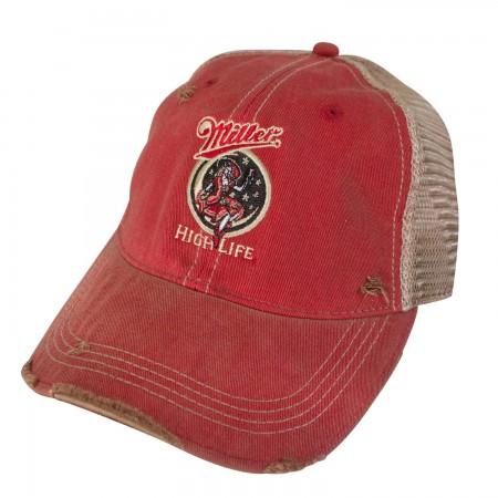 Miller High Life Girl In The Moon Retro Brand Orange Men's Trucker Hat