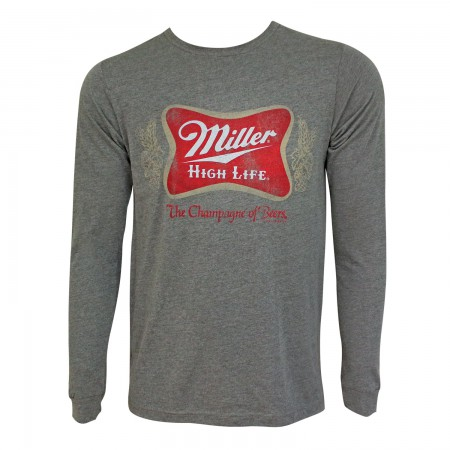 Miller High Life Vintage Logo Grey Crewneck Long Sleeve T-Shirt