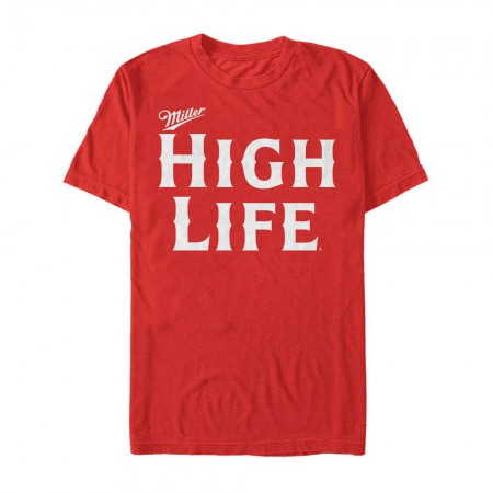 Miller High Life Beer Text Logo Men's Red T-Shirt