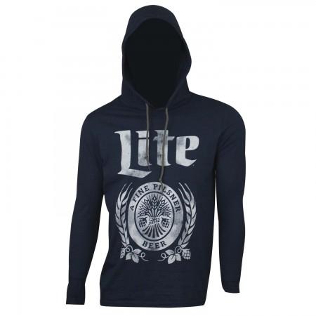 Miller Lite Beer Men's Blue Long Sleeve Hoodie T-Shirt