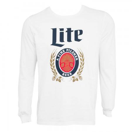 Miller Lite Logo Long Sleeve Men's White T-Shirt