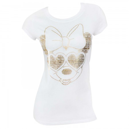 Minnie Mouse Women's White Gold Foil T-Shirt
