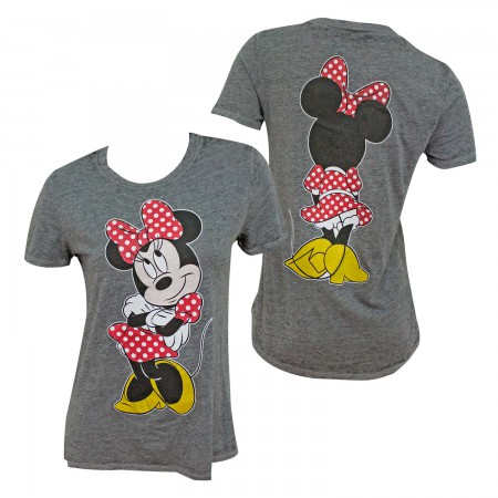 Minnie Mouse Front Back Print Women's Grey T-Shirt
