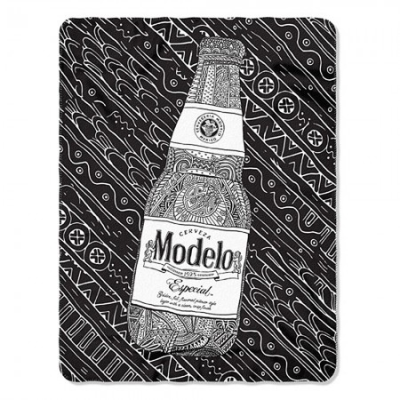 Modelo Black And White Bottle 45 X 60 Fleece Blanket