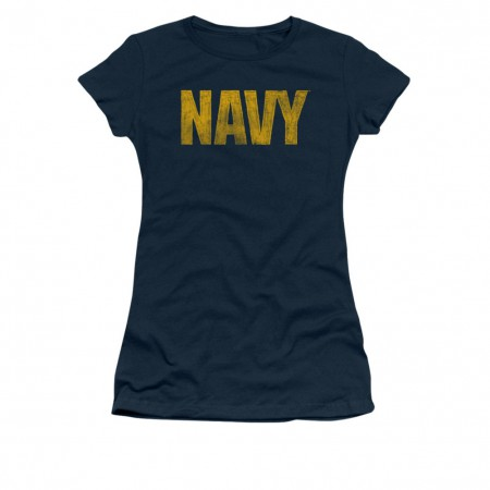 US Navy Logo Blue Juniors T-Shirt