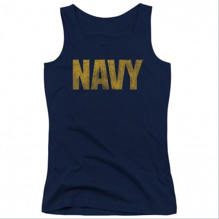 US Navy Logo Blue Juniors Tank Top
