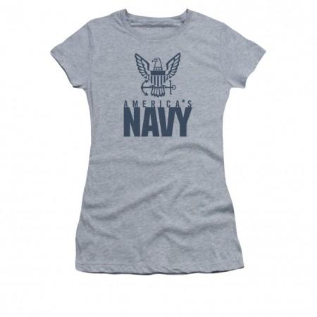 US Navy Eagle Gray Juniors T-Shirt