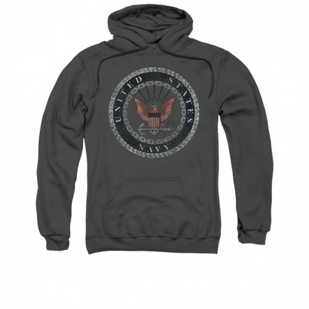 US Navy Rough Emblem Gray Pullover Hoodie