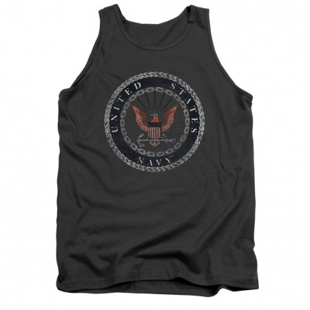 US Navy Rough Emblem Gray Tank Top