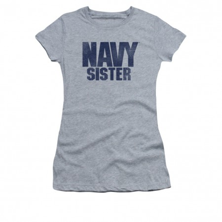 US Navy Sister Gray Juniors T-Shirt