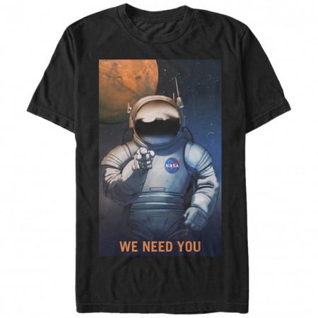 NASA We Need You Men's Black T-Shirt