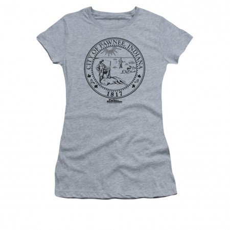 Parks And Recreation Pawnee Seal Gray Juniors T-Shirt