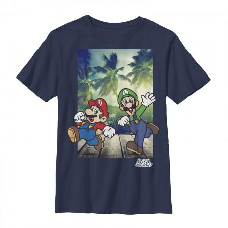 Nintendo Super Mario Running Blue Youth Boys 8-20 T-Shirt