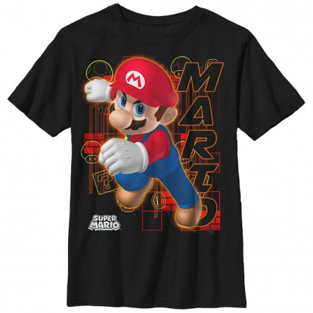 Nintendo Mario Candy Red Black Unisex Youth T-Shirt